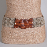 Hand Beaded Cream Belt